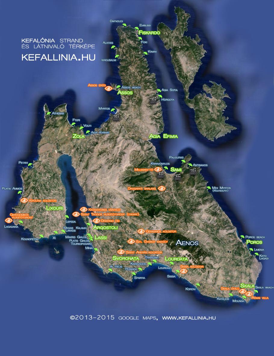 Kefalónia strand és látnivaló térkép